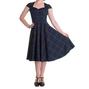 Hell Bunny 50s Style Plaid Midi Dress